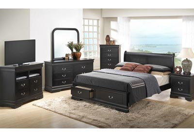 Black King Low Profile Storage Bed, Dresser & Mirror