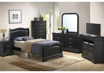 Black Full Low Profile Upholstered Bed, Dresser, Mirror, Chest & Night Stand