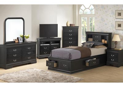 Black Full Storage Bookcase Bed, Dresser & Mirror