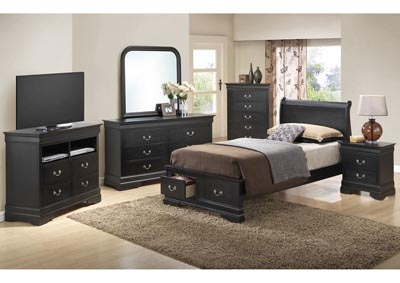 Black Full Low Profile Storage Bed, Dresser, Mirror, Chest & Night Stand