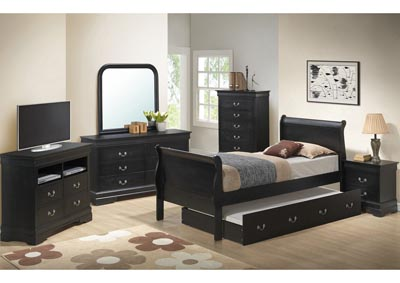 Black Full Trundle Bed, Dresser, Mirror, Chest & Night Stand