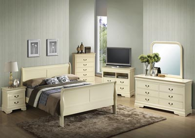 Beige Queen Sleigh Bed, Dresser, Mirror, Chest & Night Stand