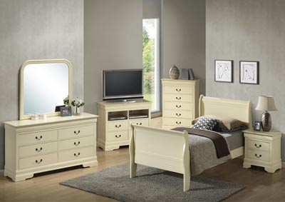 Image for Beige Twin Sleigh Bed, Dresser & Mirror