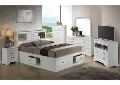 White Queen Storage Bookcase Bed, Dresser, Mirror, Chest & Night Stand