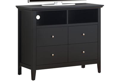 Black 4 Drawer Media Chest