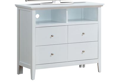 White 4 Drawer Media Chest
