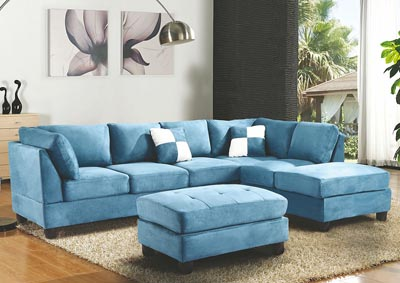 Aqua Suede Sectional