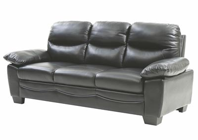 Image for Black Faux Leather Sofa