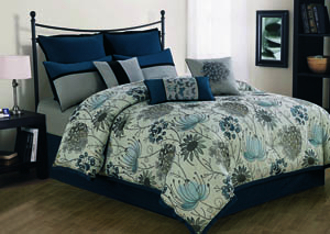 Penrose Peacock Blue 10 Piece King Comforter Set