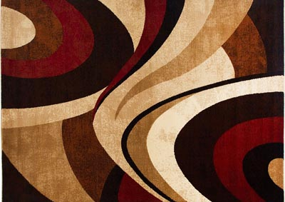"Image for Home Dynamix Tribeca Slade Contemporary Area Rug 7'10"" Round Abstract Brown/Red"