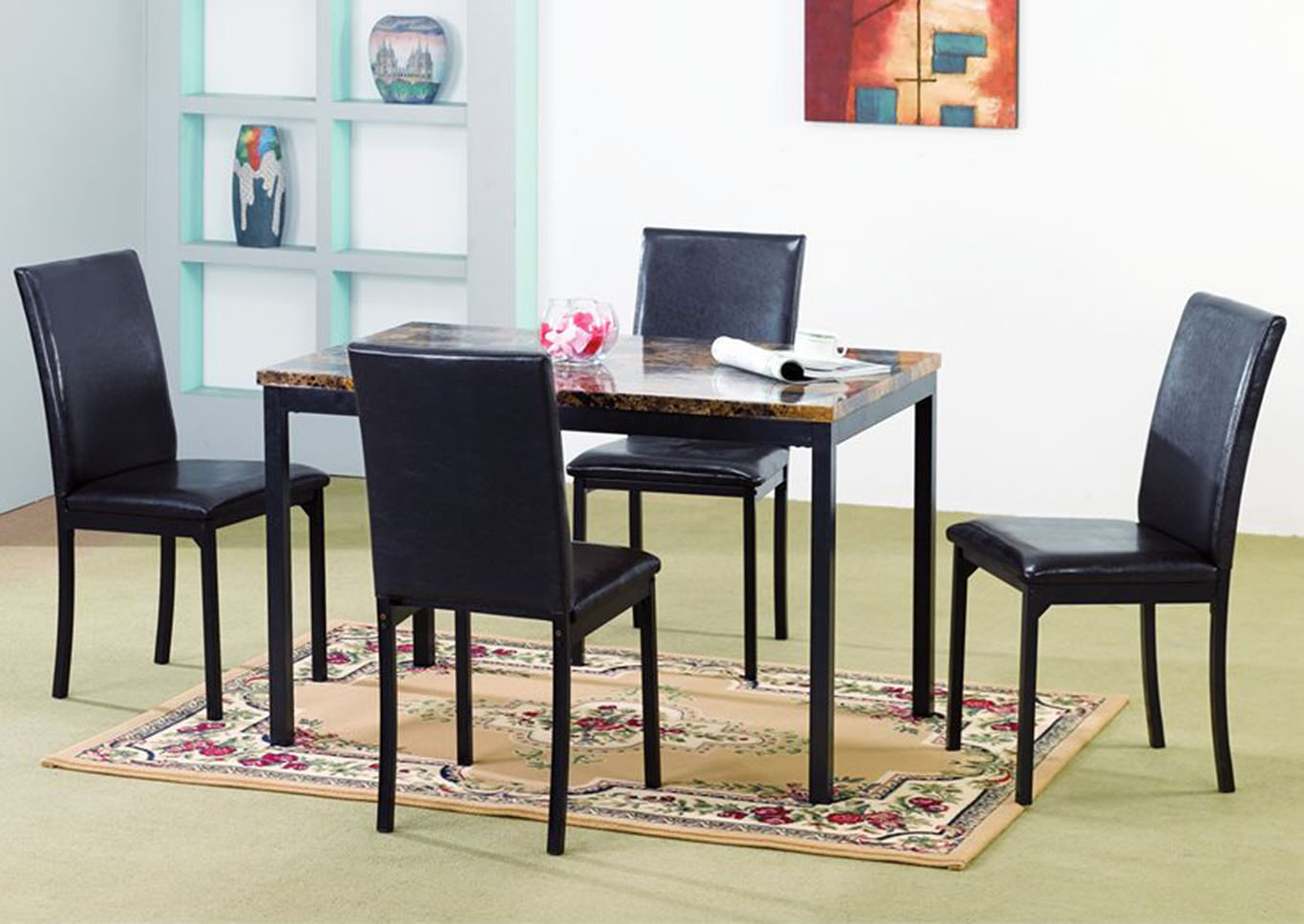 Bob\'s Discount House Brown/Black Faux Marble Table & 4 Chairs