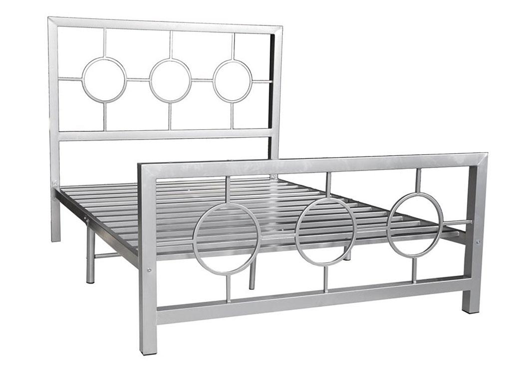 Bob's Discount House Metal Silver Bed Frame Circle Design
