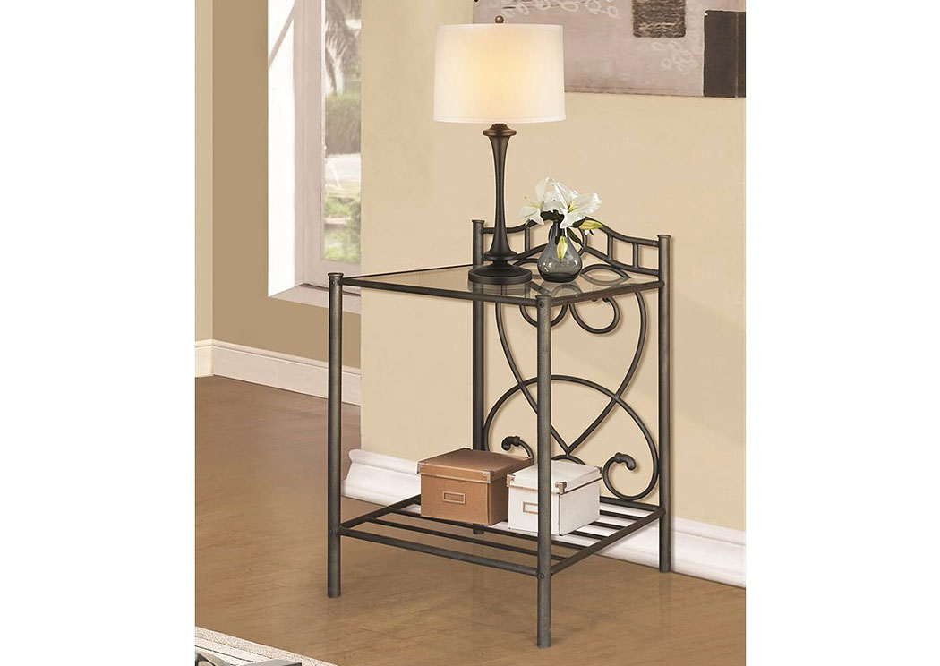 Black Metal Night Stand,Home Source