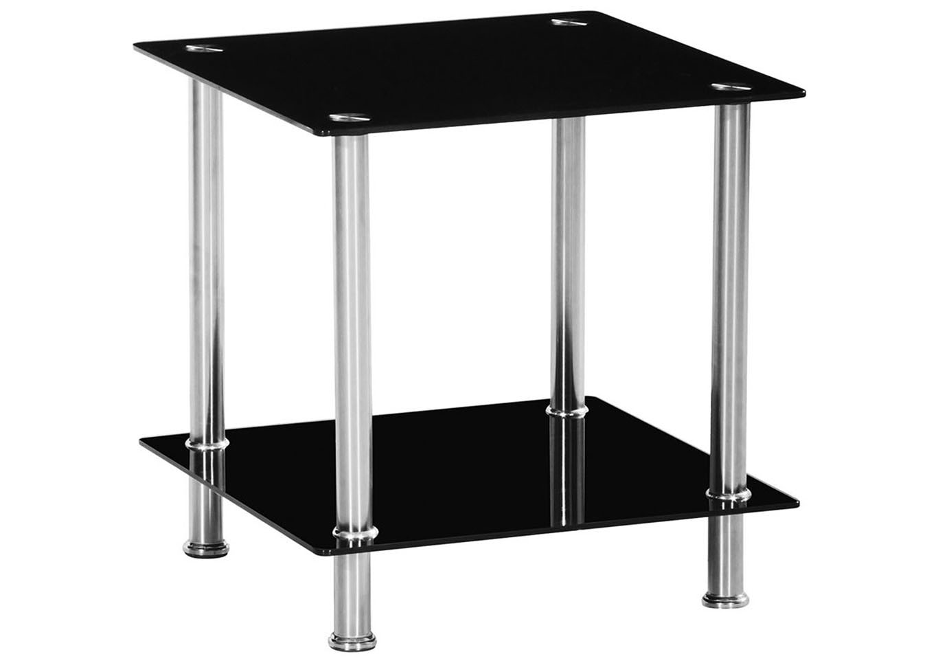 Black Glass Rectangle Corner Table,Home Source