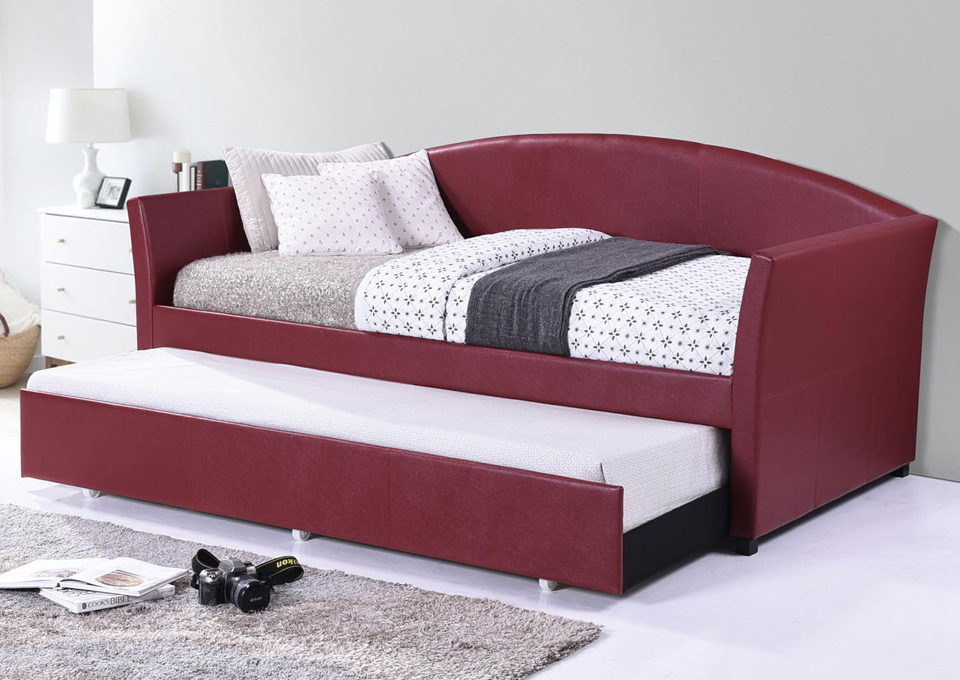 Burgundy Faux Leather Daybed W TrundleHome Source
