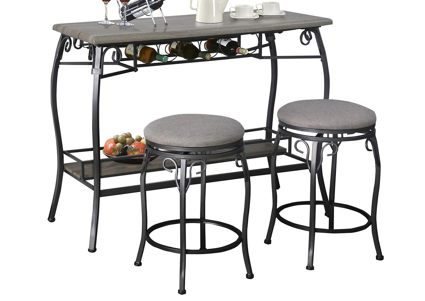 Grey Bar Table & 2 Stools,Home Source