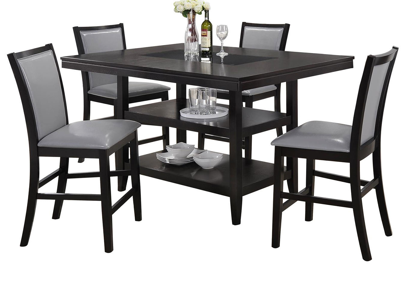 Grazia Black/Gray 5 PC Counter Height Table Set,Home Source