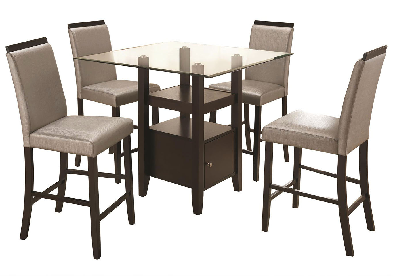 Cerise Cappuccino 5 Piece Counter Height Dining Set,Home Source
