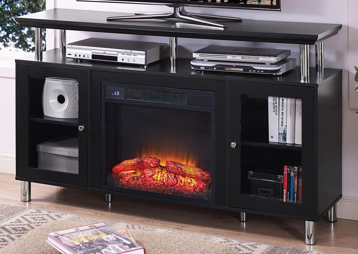 Felix Black Plasma TV Stand w/Electrical Fireplace,Home Source