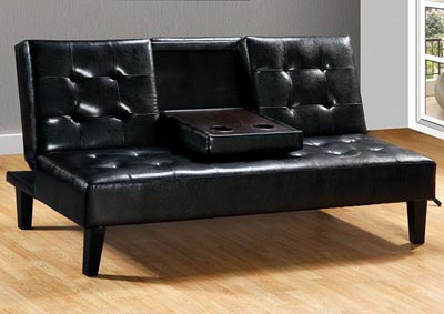 Black Sofa Bed w/Drop Down Tray