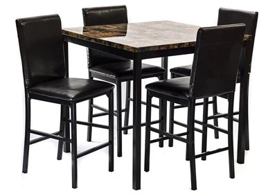 Dark Brown Faux Marble Table & 4 Chairs
