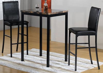 Dark Brown Faux Marble Bistro & 2 Chairs