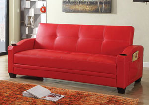 Red Sofabed No Storage PU05