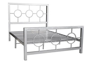 Metal Silver Bed Frame  Circle Design