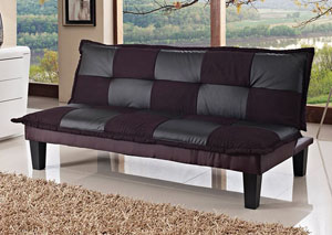 Black & Violet Sofa Bed in Microfiber
