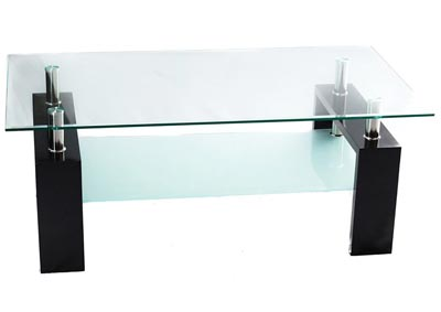 Clear/White Glass Coffee Table