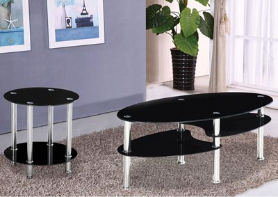 Black Rounded Oval Coffee Table