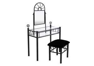 Black Vanity & Upholstered Bench Black