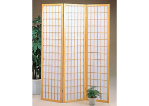 Oak Wood 3 Panel Shoji Screen