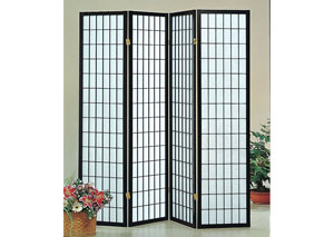 Black 4 Panel Shoji Screen
