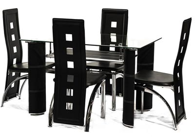 Sabinal Coffee Black Tempered Glass Table & 4 Chairs