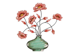 Pink & Mint Green Wall Decor Flowers in Swirl Vase
