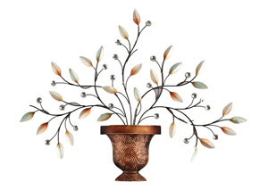 Bronze & White/Beige Wall Decor Leaves w/Diamonds Bronze Vase
