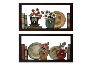 Multi Wall Decor Books & Plates on Shelf