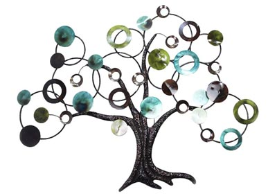 Brown & Turquoise&Lime Wall Decor-Tree w/Circle Branches