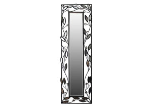 Black & Silver Wall Mirror Rectangle w/Leaves