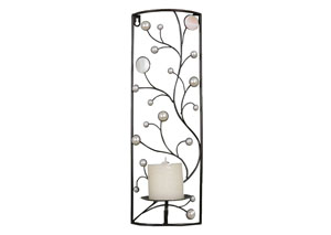 Silver & Bronze Wall Sconce Vines in Rectangle Frame
