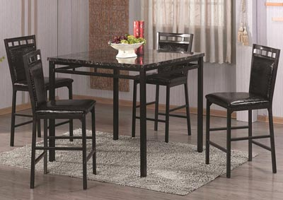 Black Counter Height Table & 4 Chairs