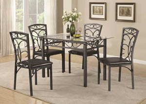 Black Dinette Table & 4 Chairs