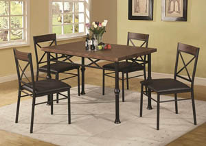 Dana Dark Brown 5 Piece Dinette