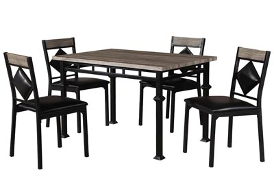 Beige/Black 5 Pieces Metal Dinette