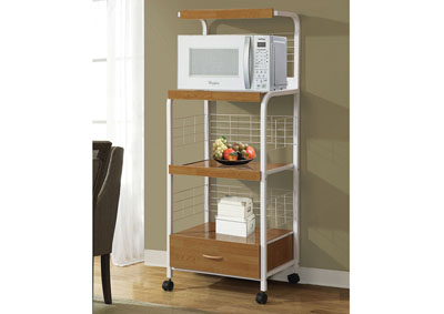 White Metal Microwave Cart w/3 Outlets