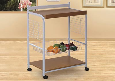 Image for Enzo White/Oak Rolling Cart