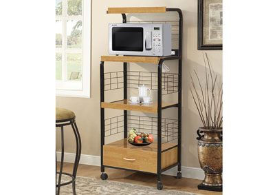 Black Metal Microwave Cart w/3 Outlets