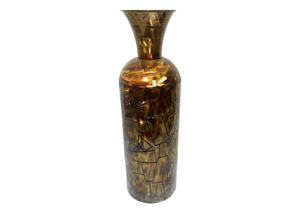 Image for Gold Table Top Metal Trumpet Vases