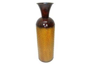 Yellow/Brown Table Top Metal Trumpet Vases